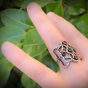 EMERALD RUBY FINE ART RING Size 8.5 Solid 925/Gold